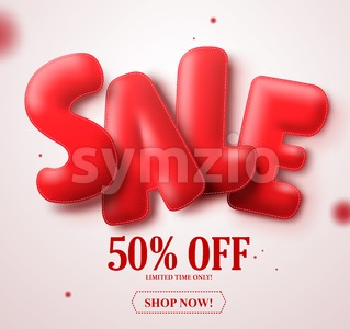 Sale red balloon 3D text vector banner design with 50% Stock Vector