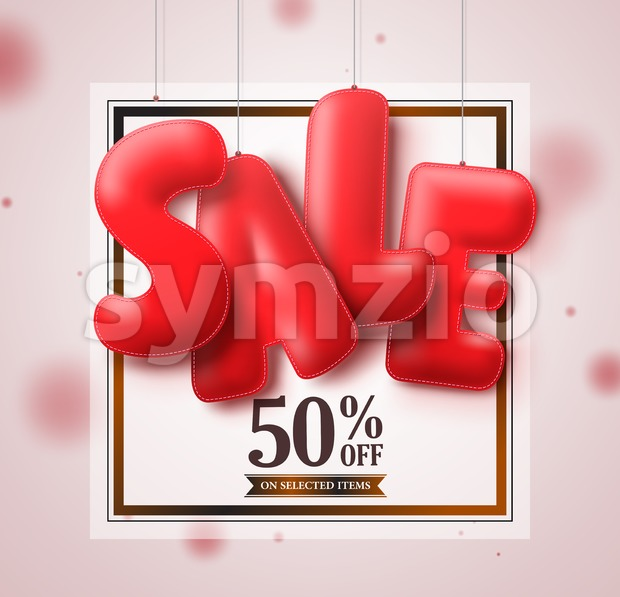 Sale balloons red 3D text hanging in white square background vector banner design for store marketing promotions. Vector illustration. This ...