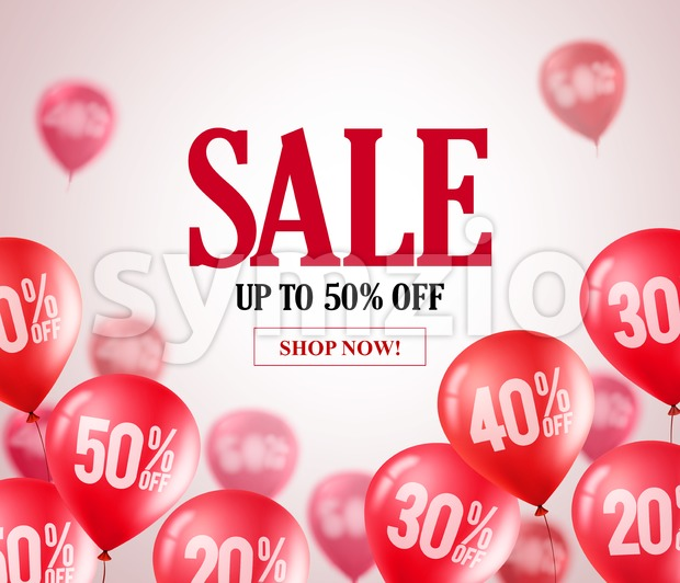 Sale red balloons vector banner. Flying red balloons with 50 percent off in a background for store marketing promotions and ...