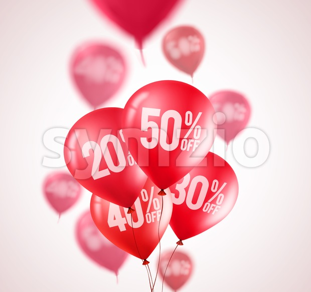 Red discount balloons vector flying red balloons Stock Vector
