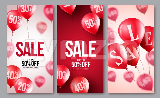 Sale vector balloons poster set. Collections of flying balloons with 50 percent off in different backgrounds for store events and ...