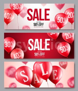 Sale vector balloons banner set of flying balloons Stock Vector