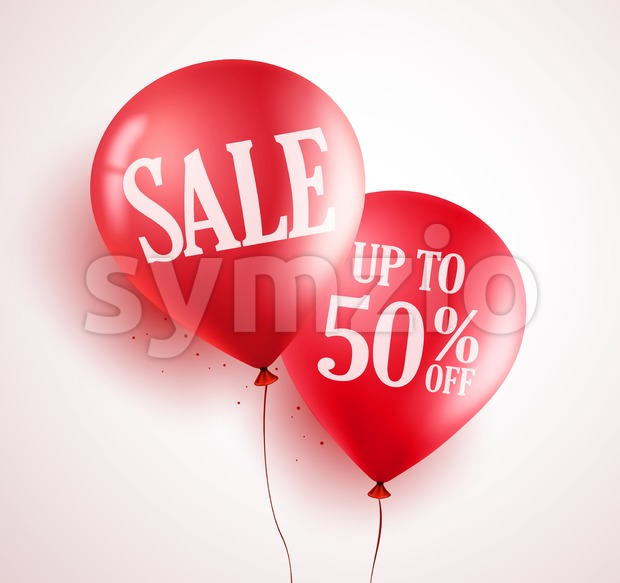 Sale balloons vector design with 50% off red color in white background for store event and marketing promotion. Vector illustration. ...