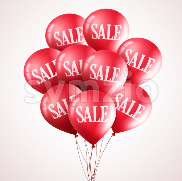 Bunch of red vector balloons with sale text flying up in white background for store marketing promotions and events. Vector ...