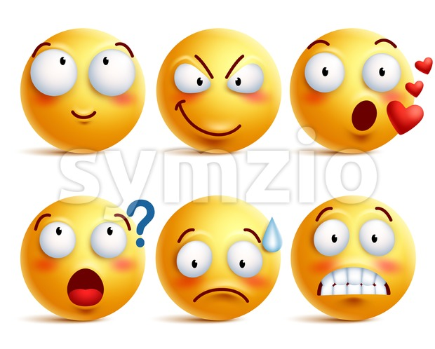 Smileys vector set. Yellow smiley face or emoticons with facial expressions and emotions like happy, in love, and confused. Vector ...