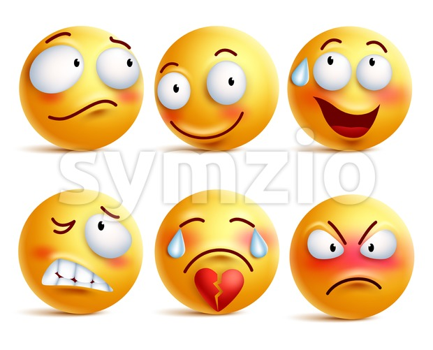 Smileys Vector Set Smiley Face or Yellow Emoticons Stock Vector