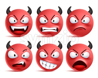 Demon Smileys Vector Set Bad Devil Smiley Face Stock Vector