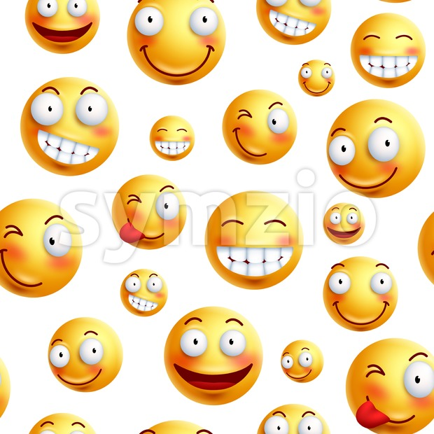 Smiley Face Pattern Vector Seamless Background Stock Vector