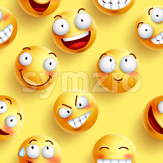 Smileys wallpaper seamless vector pattern in yellow color with continuous happy faces and facial expressions. Vector illustration. This vector smiley ...