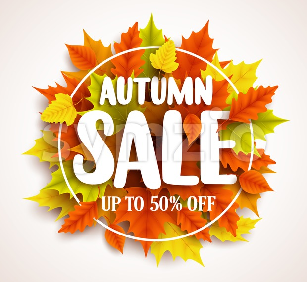 Autumn sale vector banner design with text in colorful fall leaves and circle frame in a background for seasonal promotion. ...