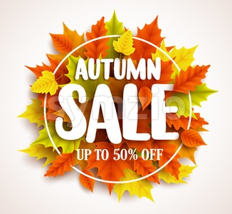 Autumn Sale Vector Banner Design with Text Stock Vector