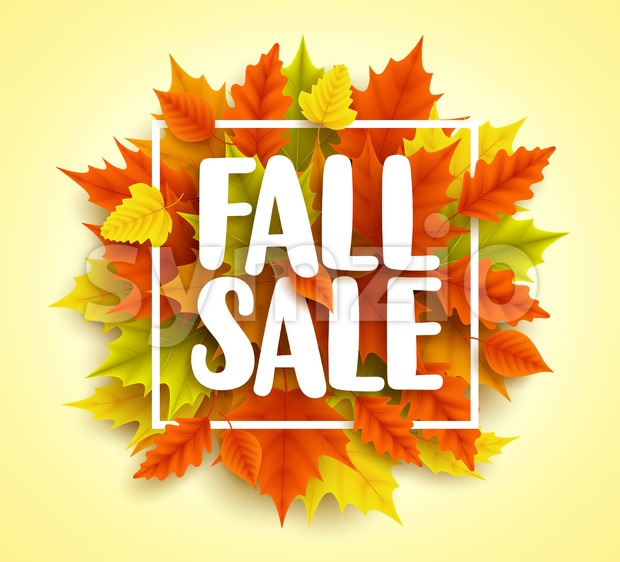 Fall sale text vector banner with colorful 3D realistic autumn maple leaves in yellow orange background for seasonal promotion. Vector ...