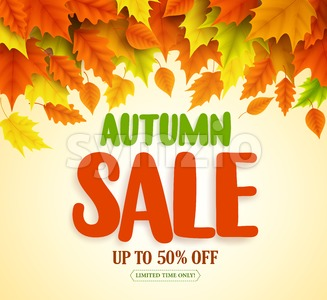Autumn Sale Text Vector Banner Design with Fall Leaves Stock Vector