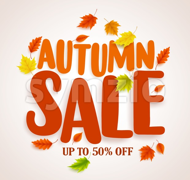 Autumn sale vector banner design with maple leaves in white background for fall season store discount promotions. Vector illustration. This ...