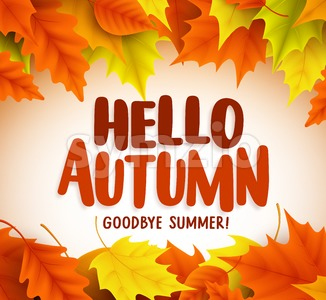 Hello Autumn Text Greetings in Vector Banner Design Stock Vector