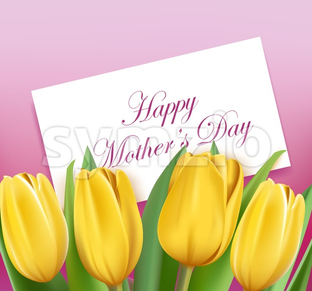 Mothers Day Greetings with Colorful Tulips Vector Stock Vector