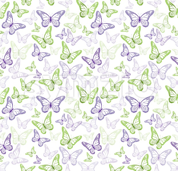 Seamless Colorful Butterfly Vector Pattern Stock Vector