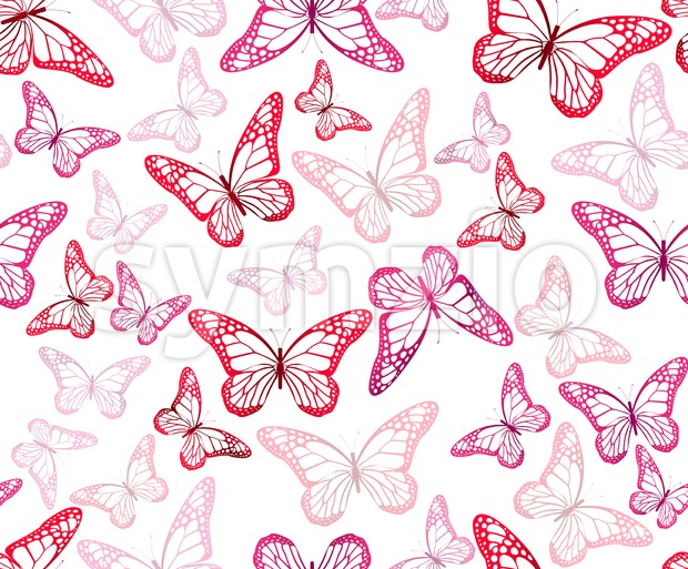 Colorful Vector Butterflies Continuous Pattern Stock Vector