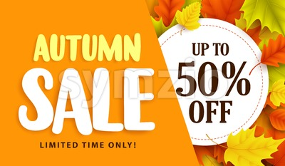 Autumn Sale Banner Design with Discount Label Stock Vector