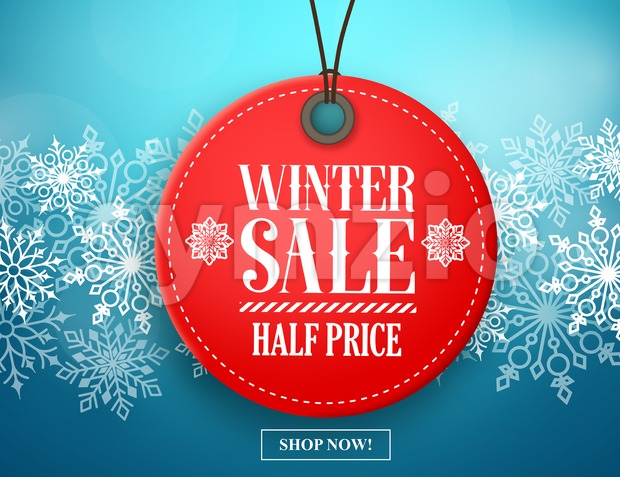 Winter Sale Tag Vector Banner Red Sale Tag Hanging Stock Vector