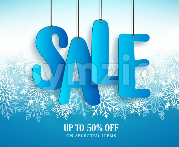 Winter sale vector banner design with hanging sale text in white winter snowflakes in blue background for retail marketing promotion. ...