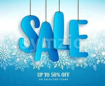Winter Sale Vector Banner Design with Hanging Sale Text Stock Vector