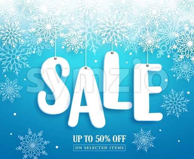 Winter sale vector banner design with sale text paper cut hanging and white snow in blue background for seasonal promotion. ...