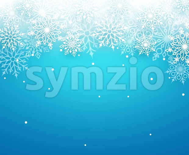 Winter snow vector background with white snowflakes elements falling and empty space for text in blue background. Vector illustration. This ...
