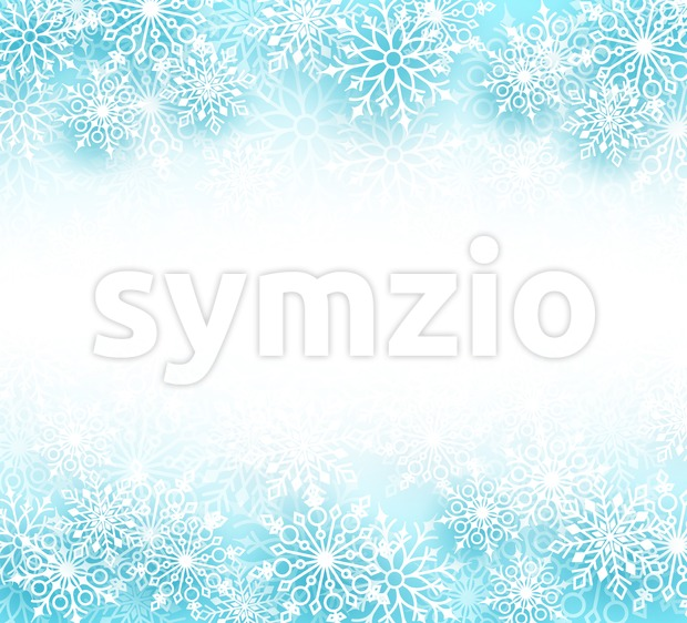 Snow winter vector background with different shapes of snowflakes elements and empty white space for text in a white background. ...