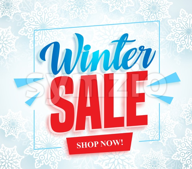 Winter sale vector banner with 3d red sale text and frame in white snow background for seasonal store promotion. Vector ...