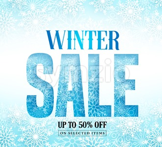 Winter Sale Text with Snow Pattern & White Snowflakes Stock Vector