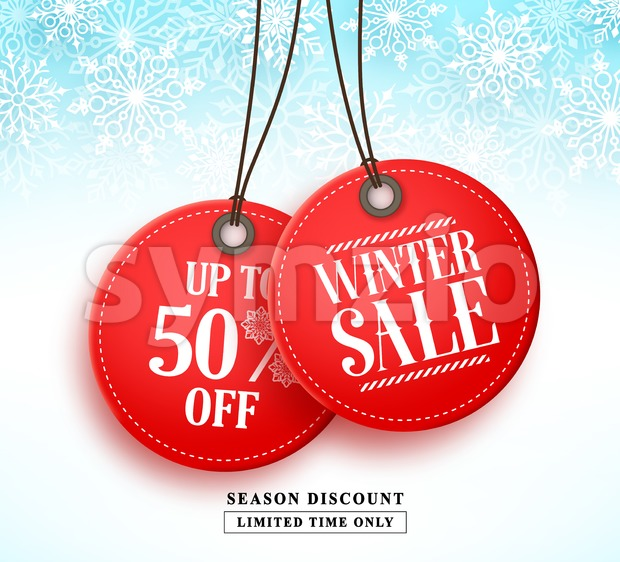 Winter sale vector banner with two red sale tag hanging in white snow background for seasonal marketing promotion. Vector illustration. ...