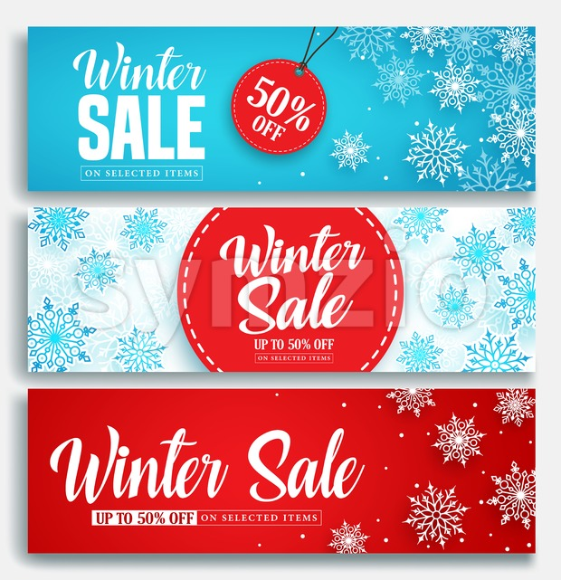 Winter Sale Vector Banner Set with Discount Text Stock Vector