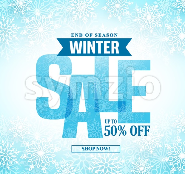 Winter sale vector banner design with blue sale text in white snow background for end of season shopping promotion. Vector ...