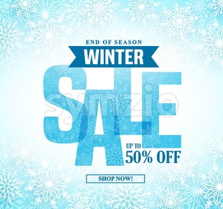 Winter Sale Vector Banner Design With Blue Sale Text Stock Vector