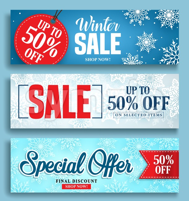 Winter sale vector banner set with sale discount texts and labels in snow colorful background for seasonal marketing promotion. Vector ...