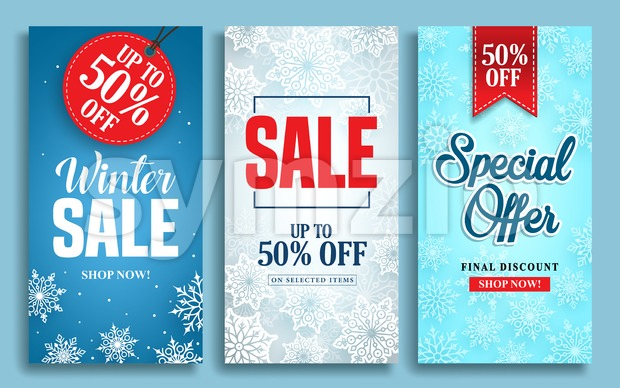 Winter sale vector poster design set with sale text and snow elements in colorful winter background for shopping promotions. Vector ...