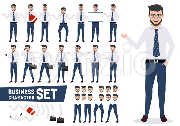 Business vector characters set with male businessman in different presentation pose and gestures wearing office attire isolated in white background. ...