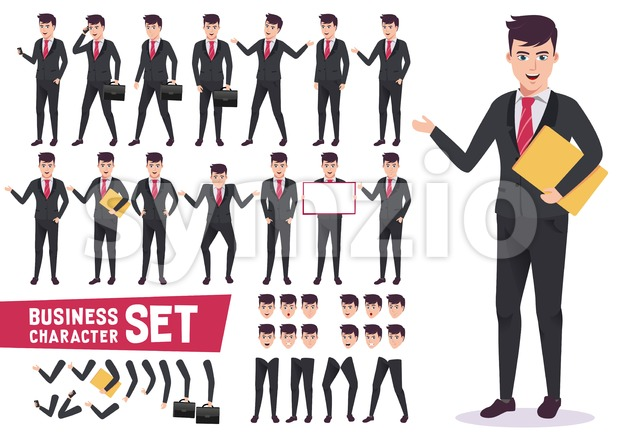 Business characters vector set with professional male office worker wearing corporate black suit and have pose for presentation. This vector ...