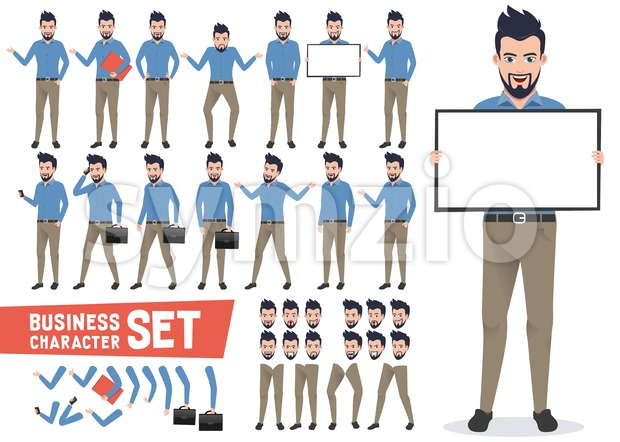 Business characters vector set with professional businessman wearing office attire holding white board for presentation. This vector was designed with ...