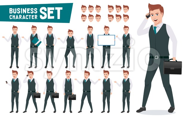Business characters vector set with businessman wearing office attire talking on phone and have different posture for presentation. This vector ...