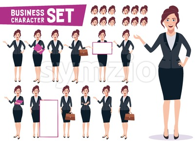 Business Woman Vector Character Creation Set Stock Vector