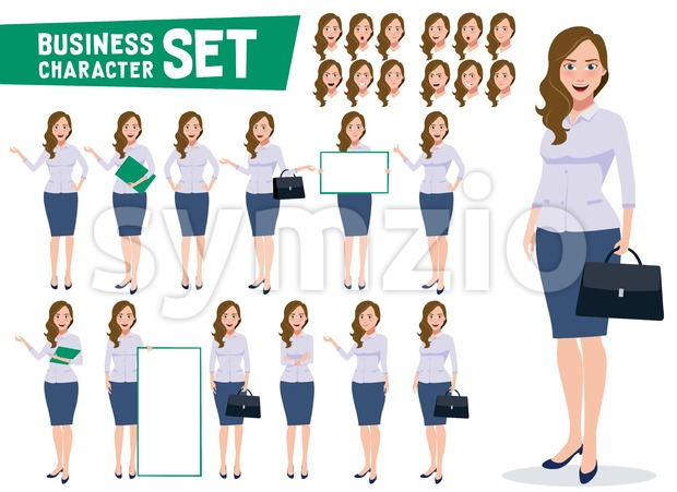 Business woman character vector set with professional young female office employee standing in different gestures and pose. This vector was ...