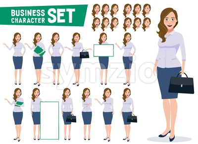 Business Woman Character Vector Set Stock Vector