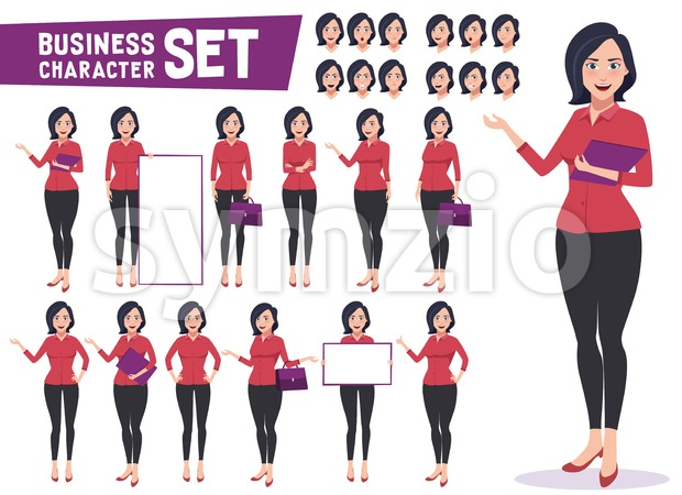 Businesswoman character vector set with professional young female employee or teacher standing in different gestures and pose for business presentation. ...