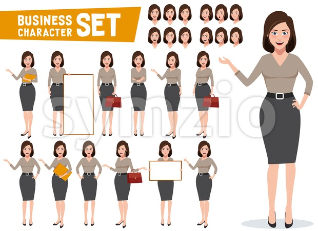Young business woman vector character set with professional female office or sales employee in gestures and poses for presentations. This ...