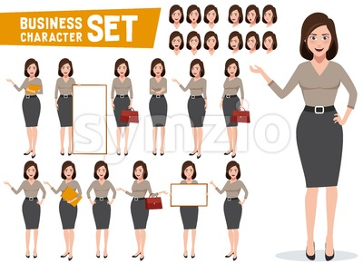 Young Business Woman Vector Character Set Stock Vector