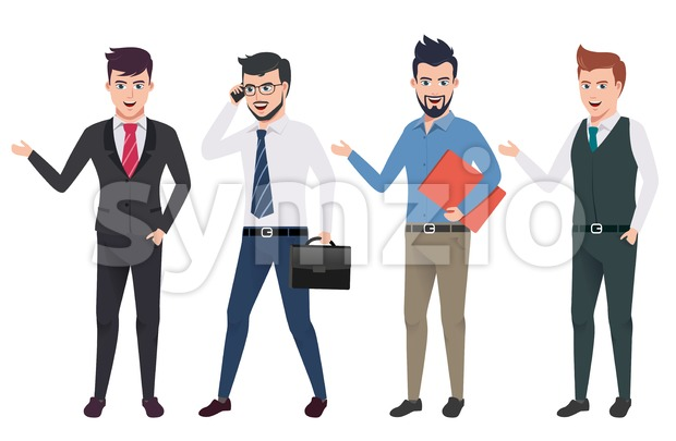 Business man vector characters set with professional male office and sales person wearing business attire in different gestures and postures.This ...