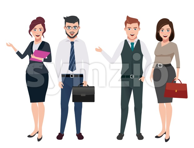 Male and female business characters vector set in different gestures and postures in white background. This vector was designed with ...