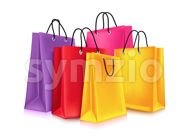Colorful Vector Empty Shopping Bags Design Stock Vector